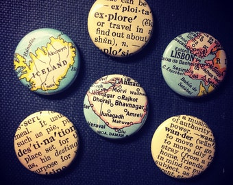 Travel Lovers Pinback Buttons set of six