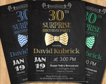 30th Birthday Invitation for Men. Bowtie little man invite. Gold, Blue, Green, any other. 1st 30th 40th any age. Printable digital DIY