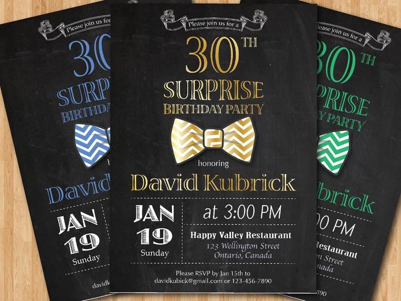 30th Birthday Invitation for Men. Bowtie little man invite.