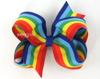 "Rainbow Hair Bow - 4"" hair bow, 4 inch hair bow, girls hair bows, big hair bows, cute boutique bows for baby toddler girls, hairbows"