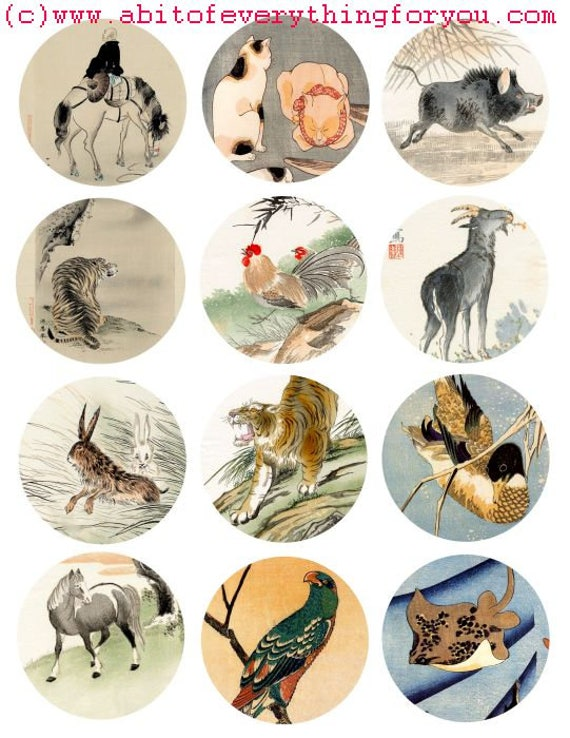 vintage forest jungle sea animal watercolor art clip art digital download collage sheet 2.5 inch circles nature graphics images printables