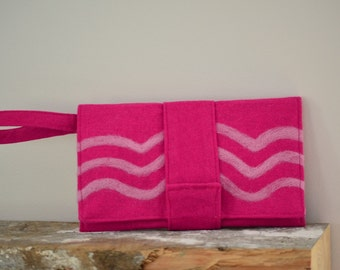Pink Felted Clutch Needle Felted Pink Line Design Eco Friendly