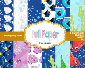 Finding Dory Digital Paper-Finding Dory Paper-Ocean Digital Paper-Mermaid paper-Shell Digital Paper-Finding Dory Invite-Party Decor-Birthday
