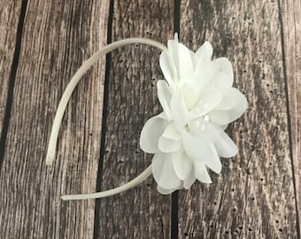 Ivory headband, flower girl headband, flower girl, wedding headband, hard headband, child headband