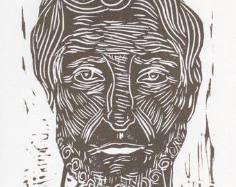 Odysseus linocut, 5 x 7,