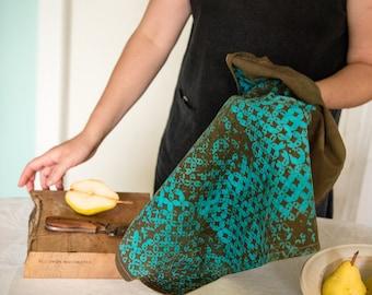 turquoise and brown batik cotton tea towel
