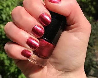BAD WOLF - Red Wine Pearl Color Stardust Doctor Who Inspired Nail Polish - Merlot Scented - 5-Free & Cruelty Free