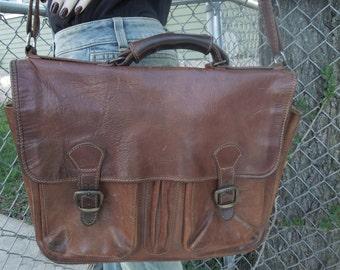Vintage I Medici Firenze Italy Leather Briefcase Attache Laptop Bag Tote Messenger Handbag