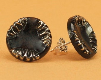 Vintage 1940s Black with Silver Glass Post Earrings