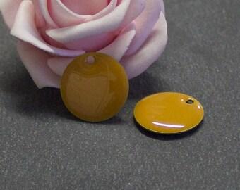 4 round sequins glazed both sides of 18 mm light caramel color SEQ74