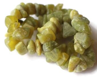 Large Dark Olive Green Beads New Jade Beads Serpentine Beads Chip Beads 17 Inch Strand Nugget Stone Beads Gemtone Beads