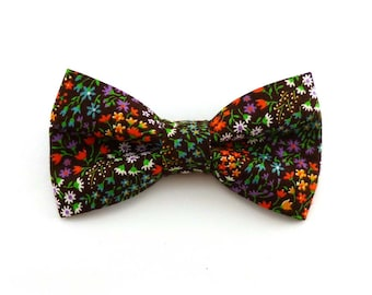 Multicolor wildflowers brown floral clip on bow tie for men and women