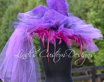 Plum Purple Black Witch Hat/ Custom Halloween Hat/ Feather, Tulle, Mesh Witch Hat/ Boutique Witch Hat/ Halloween Witch Hat/ Adult Witch Hat