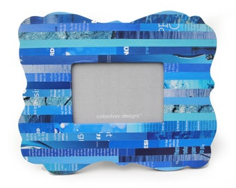 delicate blue picture frame - made with recycled magazines -  frame, stripes, modern,interior design, bright colors,curvy,beach house,design