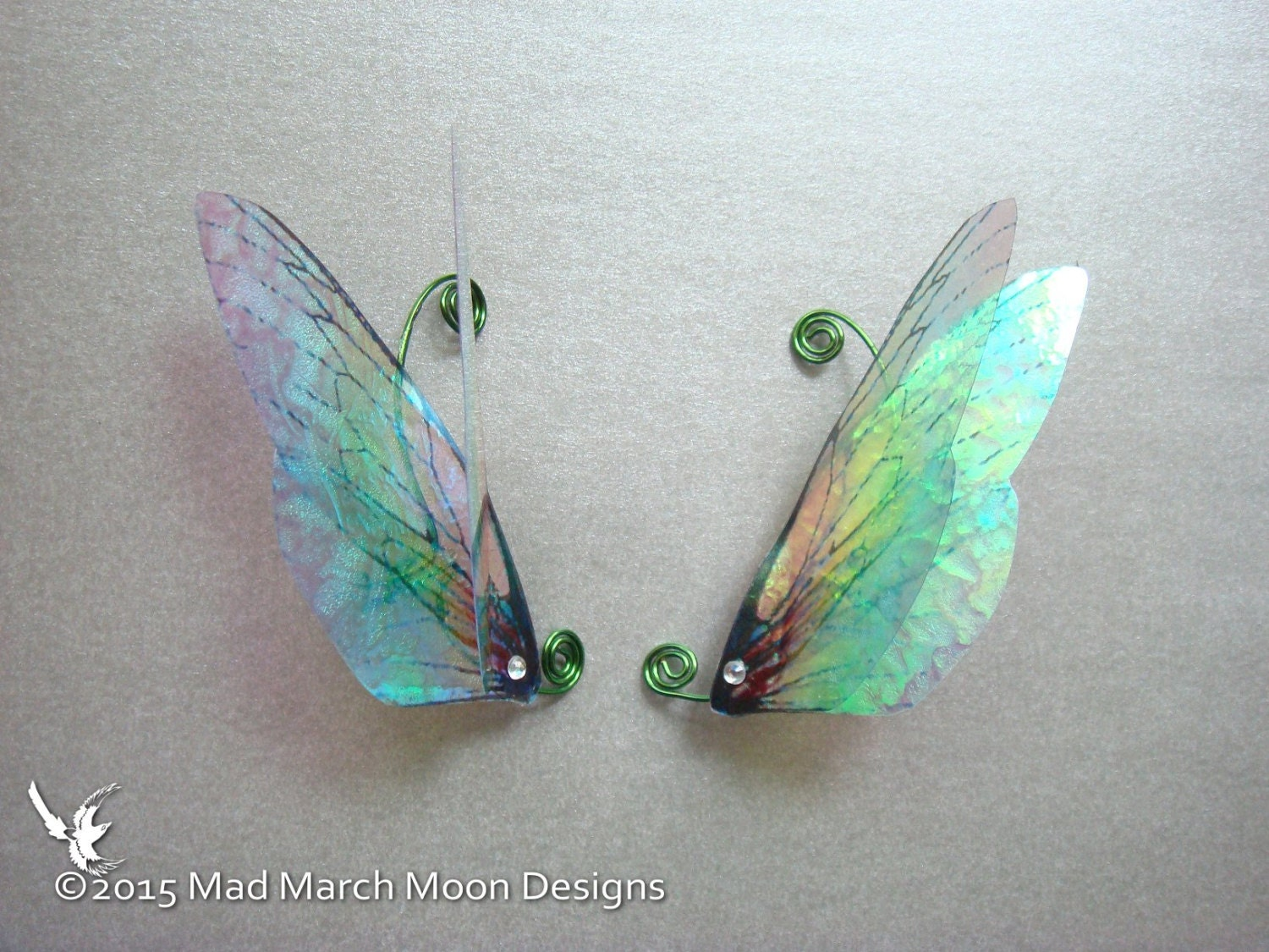 Large Rainbow Fairy Wing Ear Cuffs iridescent hand wound clip