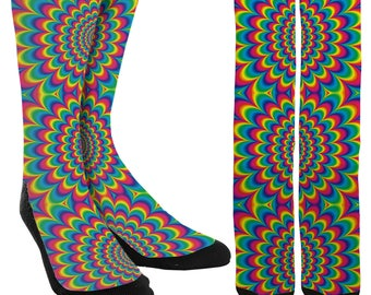 Psychedelic Rave Crew Socks - Trippy Socks - Rave Clothing - Novelty Socks - Crazy Socks - Socks for Men - Socks for Women-FREE Shipping B02