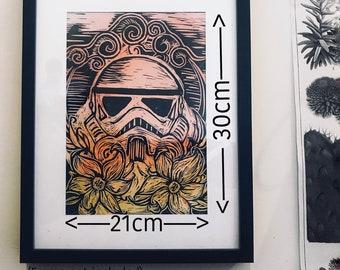 StormFlowers Lino print