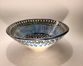 Hand made blue and black decorated bowl