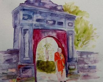 watercolor, Viet Nam, a door hue