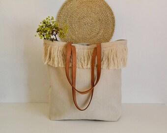 Large Linen Tote  Bag, Beach bag, Beach tote bag, Market bag, Boho bag , Leather handles bag, Tote bag , Natural linen bag, Tassels bag