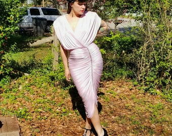 1970s Vintage Pale Pink Satin Ruched Disco Dress Baby Pink Satin Slinky Wiggle Dress with Rhinestones V Neck Size Medium