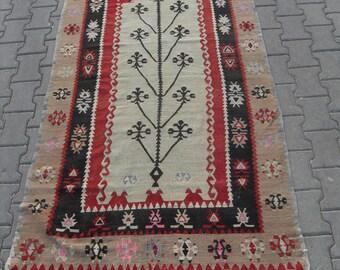 free shipping VINTAGE TURKİSH sivas kilim Anatolian handwoven kilim rug decorative kilim - SİZE : 45'' X 92'' ( 113 cm X 230 cm)