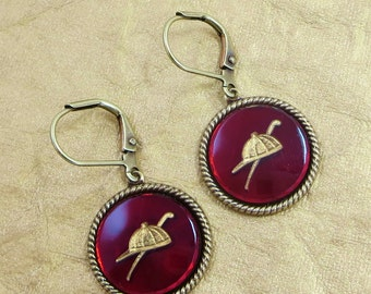 Horse Earrings Equestrian Equine Jewelry Jockey Cap Riding Crop Vintage Glass Intaglio Ruby Red Victorian Horse Gift
