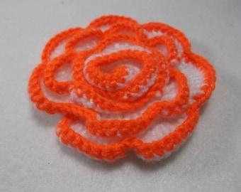 Rose, crochet, 9 cm, Orange (426)