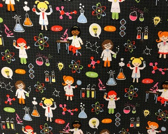 Science lab fabric, chemistry, beaker, DNA, lab, science experiment, microscope fabric, novelty fabric, classroom, back to school