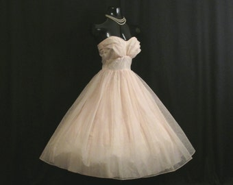 Vintage 1950's 50s STRAPLESS Baby Pink Ivory Flocked CHIFFON Organza Party Prom Wedding Dress Gown