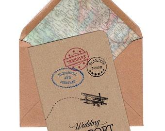 Travel Wedding, Destination Wedding, Travel Invitation, Travel Theme, Vintage Map Invitation, Vintage Travel, Ticket, Passport Folded Invite