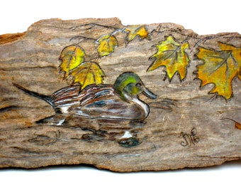 Duck Woodburning in Autumn