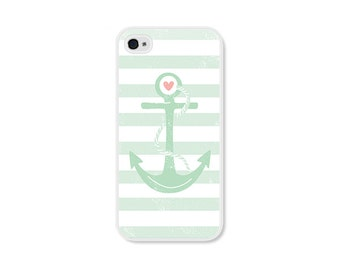 iPhone 6 Case Striped iPhone 6 Plus Case Anchor iPhone 5 Case Plastic iPhone 5s Case Nautical iPhone 5c Case Mint Green Peach Pink White
