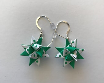 Moravian Star Earrings—Green and Polka Dot Two-tone