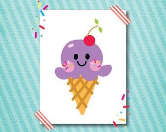 ice cream cone wall art printable one scoop grape 16x20