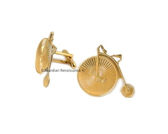 High Wheel Bicycle Cufflinks Brass Gold Classic Cyclist Penny Farthing Dress Shirts Accessory