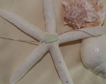 Genuine Aqua Sea glass and Sterling Silver ankle braclet