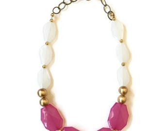 Statement Necklace - Pink White Gold Necklace - Pink Statement Necklace