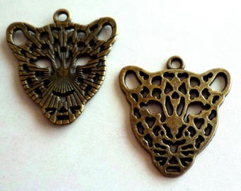 Set 3 - Leopard head - Tan, Bronze charms