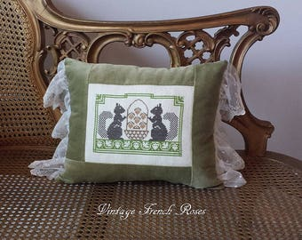Squirrels Pillow Vintage Style Sage Velvet Lace Ruffle Autumn Fall Harvest Romantic Shabby Chic Cottage French Farmhouse Style Decor