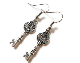 Skeleton Key Earrings, Silver Key Earrings, Key Charm Earrings, Steampunk Earrings, Key Jewelry, Gifts Under 5 Dollars, Teen Jewelry