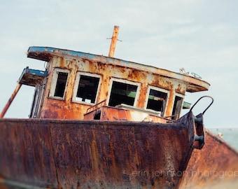 nautical boat photography, apalachicola bay, florida, abandoned fishing boat, rusted, fisherman man cave decor, boathouse living room art