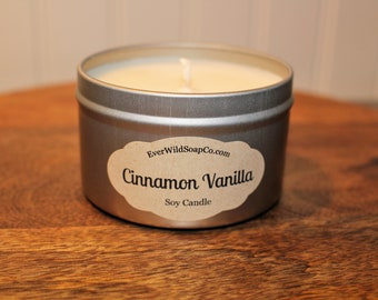 Cinnamon Vanilla Soy Candle, 8 oz Tin, Container Candle, Soy Wax Candle, Scented Candle, Home Decor Candle