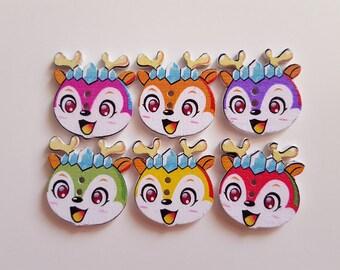 Set of 10 small reindeer wooden buttons