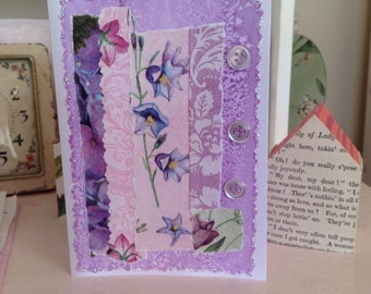 Sweet Floral Handcrafted Card for Birthdays/Friendship/Thinking of You