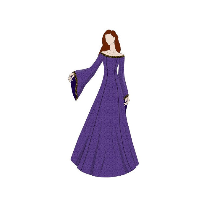 Off Shoulder Evening Dress Medieval Sewing Pattern - Sizes 8-22 UK ...