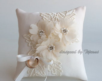 Wedding ring bearer pillow with embroidered lace and flowers-cream ring bearer, ring cushion, ready to ship