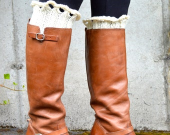 Boot Socks for Women, Leg Warmers Women, Boot Socks Lace, / THE WILLAMETTES/ cream