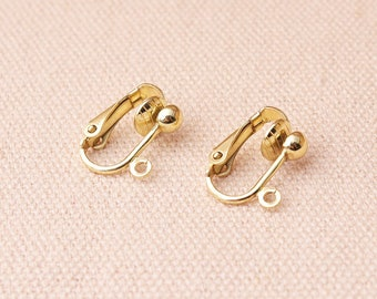 12pcs (6pairs) Clip on  earring converter Light Gold Plated Earring Clip non pierced ears change pierced over to clip