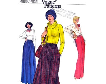 1970s Skirt, Pants Pattern Vogue 9566 A-Line Skirt Side Pockets Trousers Womens Size 12 Vintage Sewing Pattern